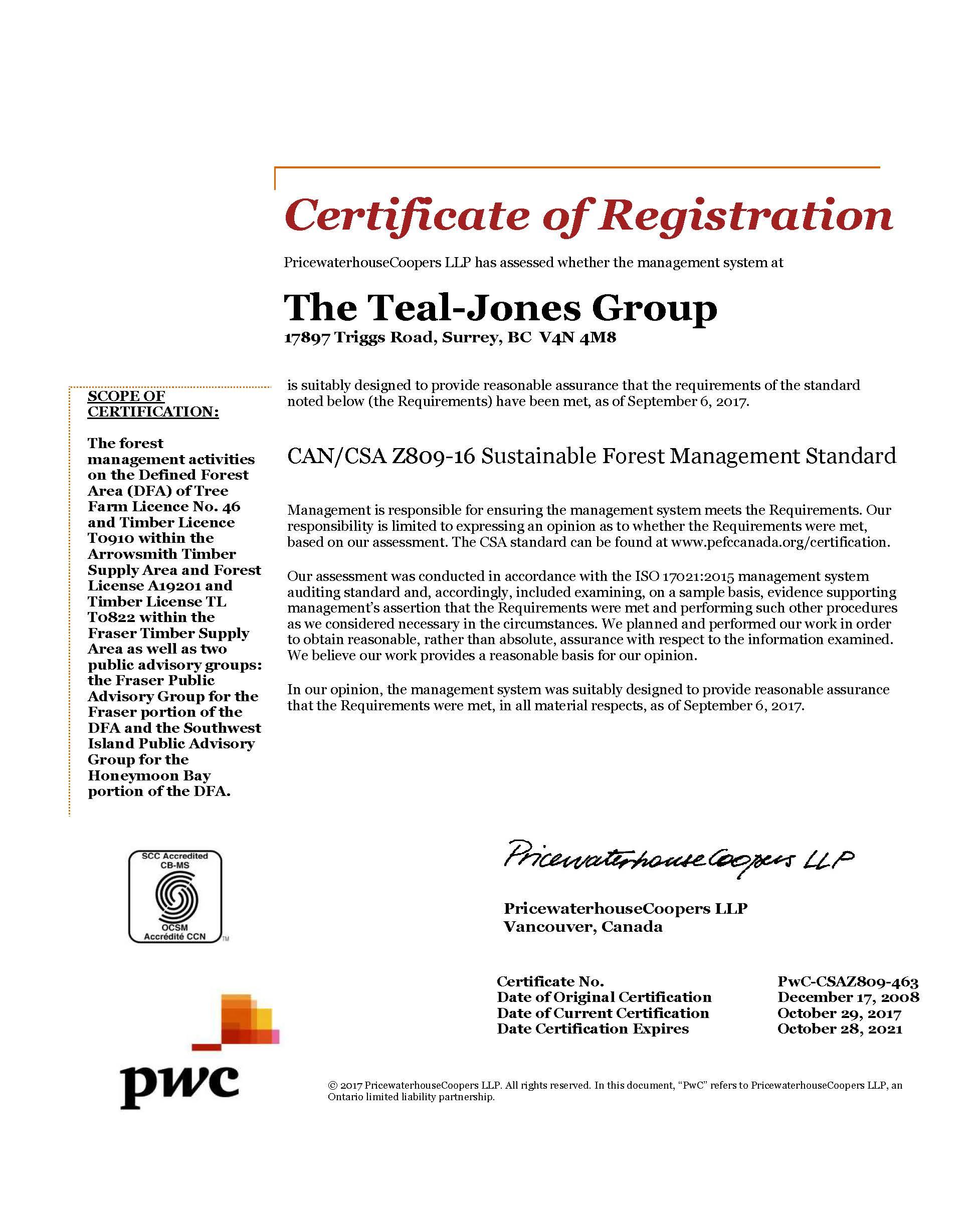 Teal-Jones RA_Certificate_CSAZ809-16_2017 Final