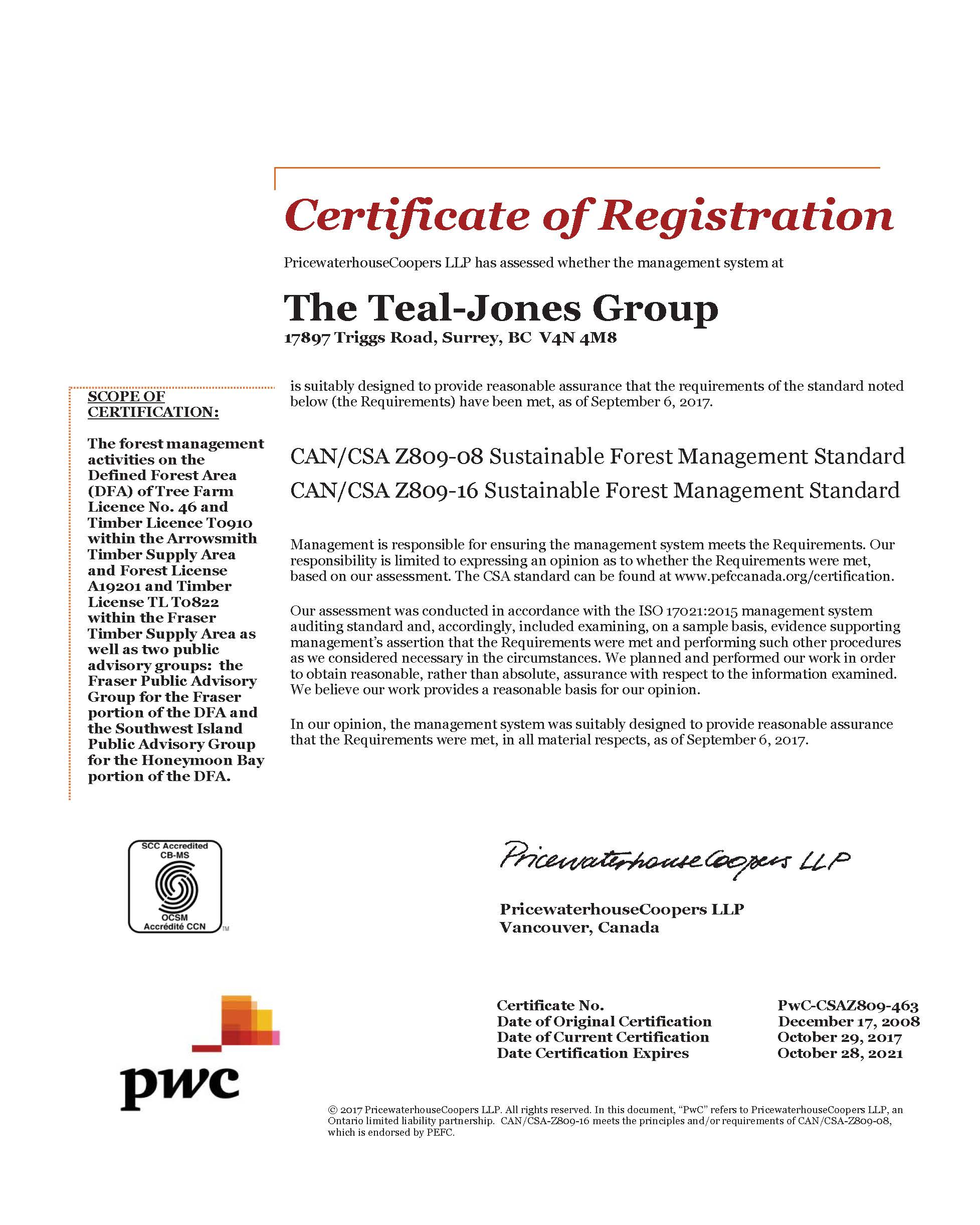 Sustainable Forest Management Certificate